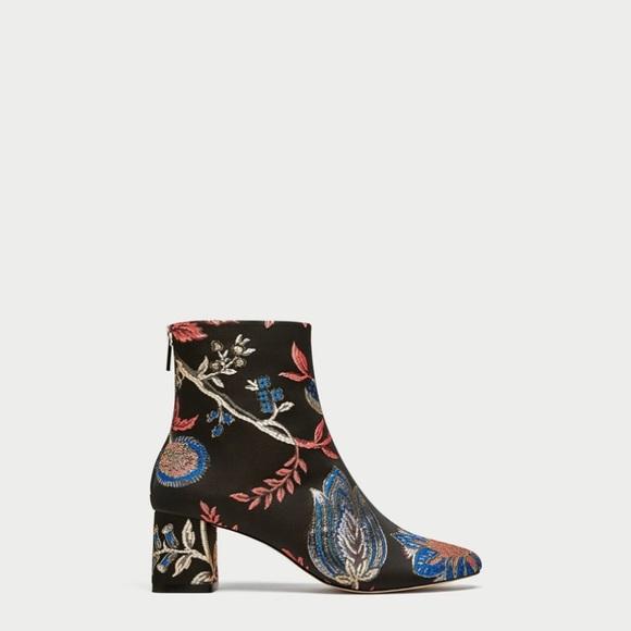 f748b19a926 ZARA high heel jacquard ankle boots NWT